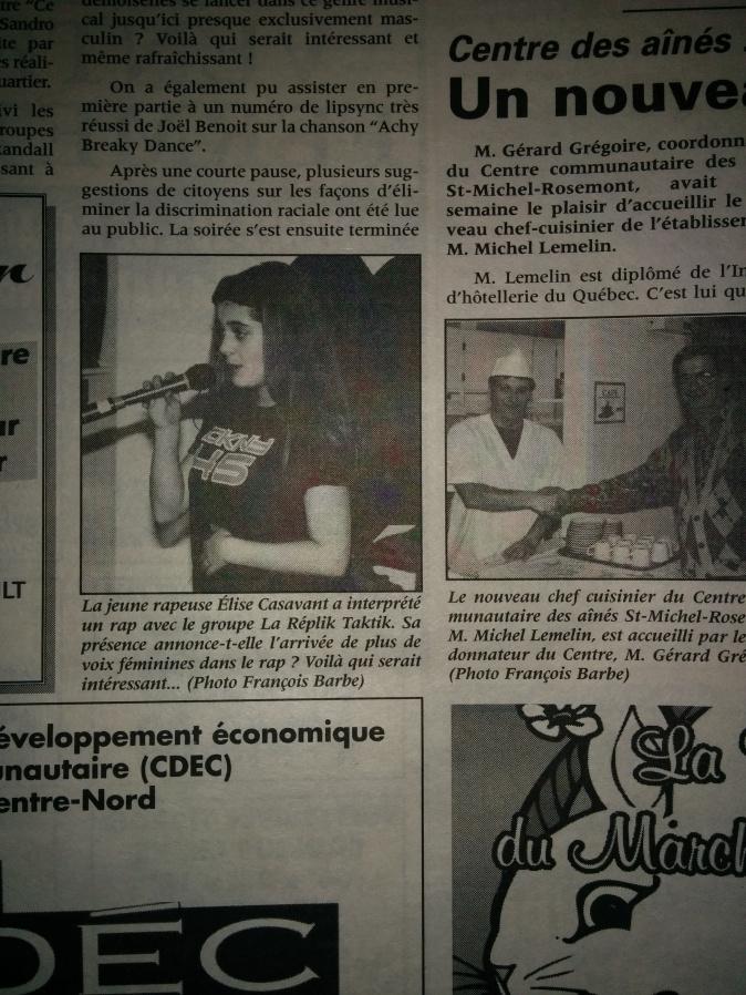Élise Casavant rappeuse de StMichel ( 24 mai 1998_ Journal de St-Michel)