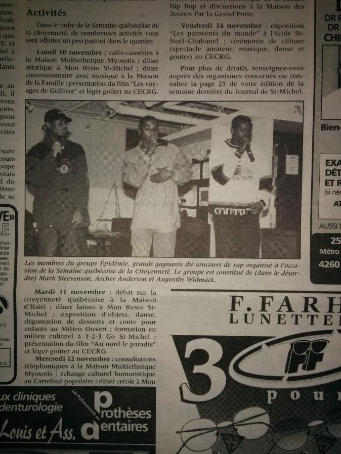 Épidémie novembre 1997_Journal de St-Michel
