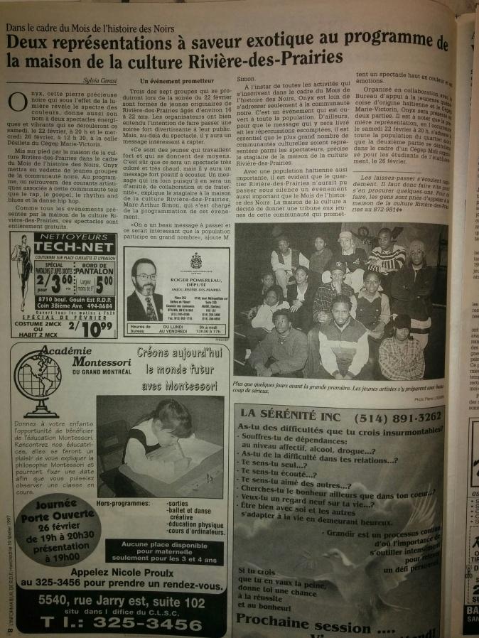 Rappeur RDP coverage soirée Onyx (rdp 1997)